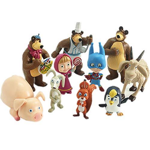 LoneFox Masha e Orso Action Figure Giocattoli Set di Giocattoli per Bambole in PVC (10PCS)