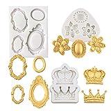 Mulukaya 3Pcs Gorgeous Vintage Royal Crown Vintage Frame Silicone Molds Cupcake Fondant Molds for...