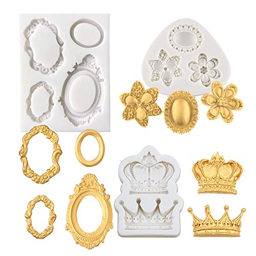 Mulukaya 3Pcs Gorgeous Vintage Royal Crown Vintage Frame Silicone Molds Cupcake Fondant Molds for Sugarcraft Cupcake Chocolate Candy Making, Clay Epoxy Resin Crafting Projects
