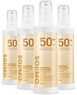 Marca Amazon - Solimo - SUN- Loción solar corporal FPS 50+ con vitamin E antioxidante (4x200 ml)