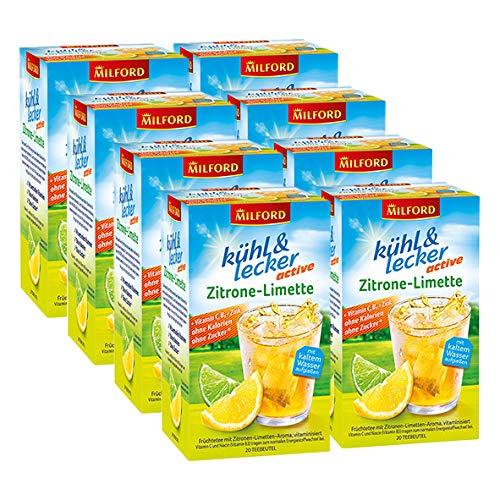 Milford kühl & lecker active Zitrone-Limette, 20 Teebeutel, 8er Pack