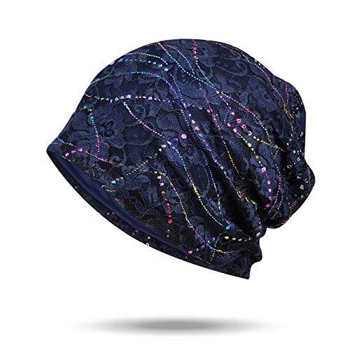 Welrog WELROG Chemo Hut Frau Hut Spitzen Kopftuch Super Weich Slouchy Turban Kopfbedeckungen Kopf Wraps(Navy blau)
