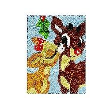Decoración de Navidad Latch Hook Rug Kits, Kit de Ganchillo Alfombras para Adultos, Alfombras de Crochet Bordados en Punto de Cruz con Lienzo Impreso-Venados 30x40 cm