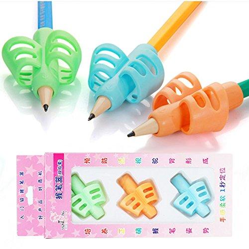 Yuccer Pencil Grip, Universal Agarres para Lápices Silicone Agarre para Escritura Writing Posture Correction, 3 Piezas 🔥