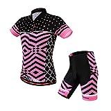 WOSAWE Camiseta de ciclismo de manga corta y pantalones cortos para mujer, color negro/rosa, talla S