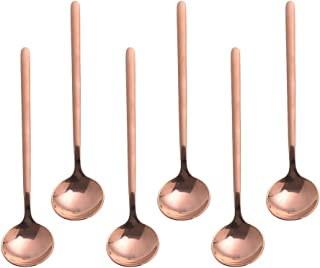 Espresso spoons 18/10 Stainless Steel,6-piece Vogue Mini Teaspoons set for Coffee Sugar Dessert Cake Ice Cream Soup Antipasto cappuccino,5 Inch frosted handle,by Pukka Home (Rose gold)