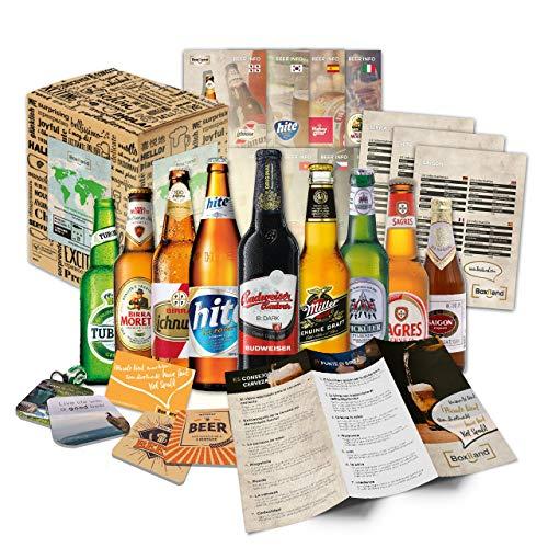 Bier Geschenk Box mit internationalen Bieren - Geschenkidee zum Geburtstag, Geschenkidee für Freunde zum Geburtstag oder als besonderes Geschenk mit 9 Bieren (Bier Weltreise)