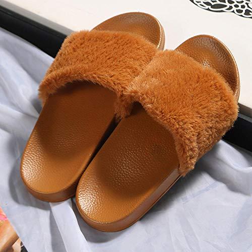 Chanclas de Playa y Piscina para Unisex Suave,Zapatillas Acolchadas de Suela Blanda, Zapatos de Piel de Primavera y otoño-marrón_41,Mujer Hombre Zapatos de baño