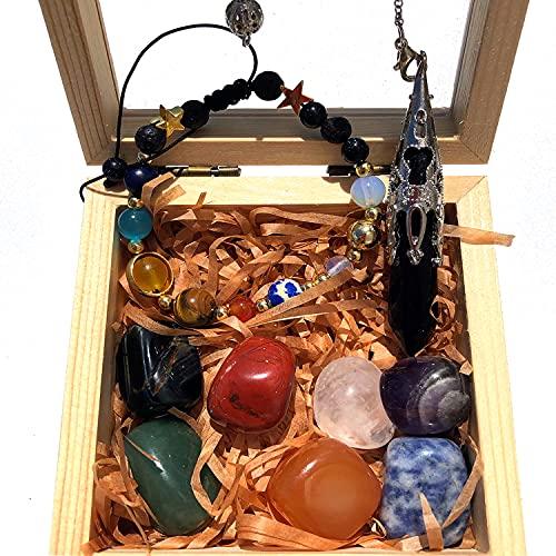 Juego de caja de madera de cristal curativo para principiantes, cristal curativo Reiki para curación, meditación, juego de piedras de chakra, péndulo de cuarzo negro tejido a mano de ocho planetas