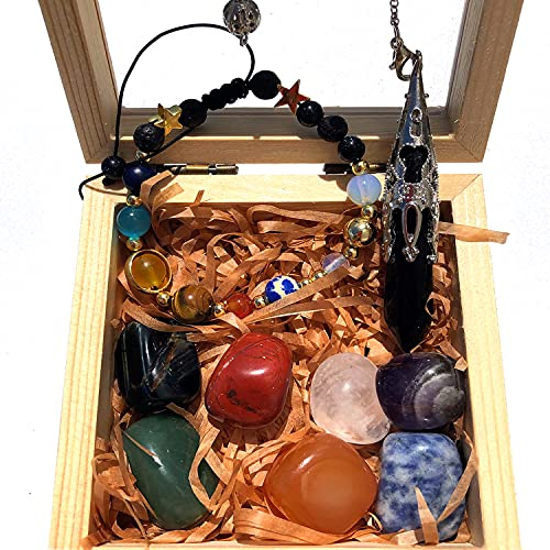 Juego de caja de madera de cristal curativo para principiantes, cristal curativo Reiki para...