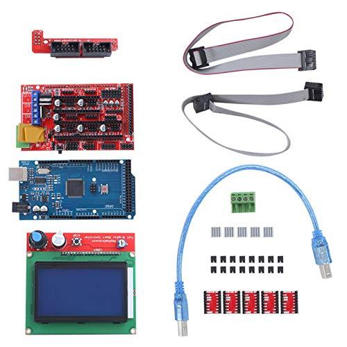 Kit de accesorios de impresora 3D con placa Mega 2560 para controlador RAMPS 1.4 controlador 12864 LCD A4988