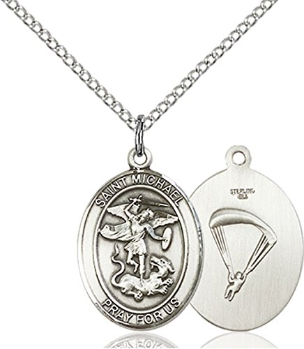 bliss Sterling Silver Saint Michael Paratrooper Medal Pendant, 3/4 Inch