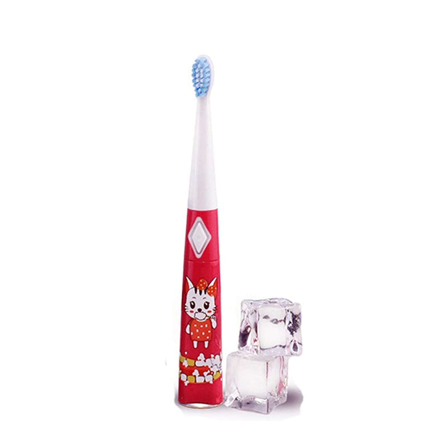 コピーかみそり泥だらけ電動歯ブラシ 子供用電動歯ブラシ防水ソフトヘア歯ブラシ単4電池1本(電池なし) 大人と子供向け (色 : 赤, サイズ : Free size)