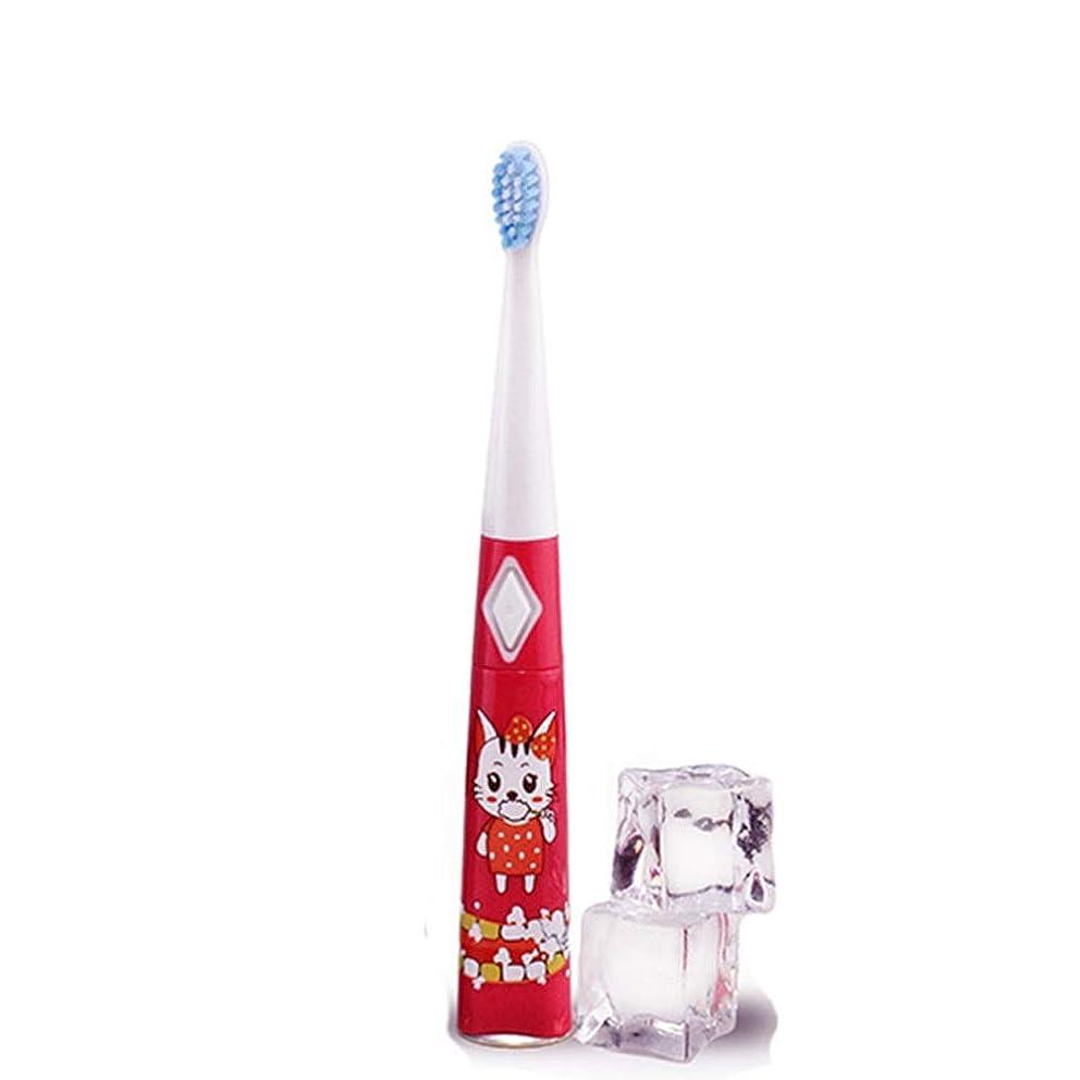 硬さ世辞試み電動歯ブラシ 子供用電動歯ブラシ防水ソフトヘア歯ブラシ単4電池1本(電池なし) 大人と子供向け (色 : 赤, サイズ : Free size)