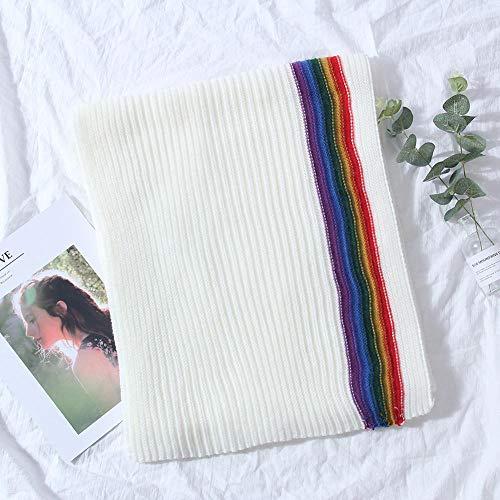LYCV Winter koreanische Version des Paares Dicke warme Frauen Kragen Regenbogenfarbe gestrickter Schal Schals aus Schurwolle weiblich@B
