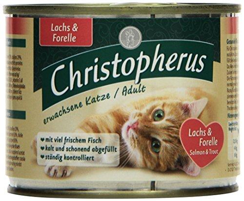 Christopherus Alleinfutter für Katzen, Nassfutter, Erwachsene Katze, Lachs und Forelle, 6 x 200 g Dose