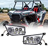 ATV Front LED Headlights RGB Halo Ring Many Colors Changing & Flashing Modes 30W by Bluetooth App for Polaris RZR XP 1000 GENERAL(Pack of 2)