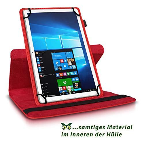 NAUC Tablet Hülle kompatibel für Lenovo Tab 2 A10-70 Tasche Schutztasche Cover Schutz Case 360° Drehbar Etui hochwertiges Kunst-Leder, Farben:Rot