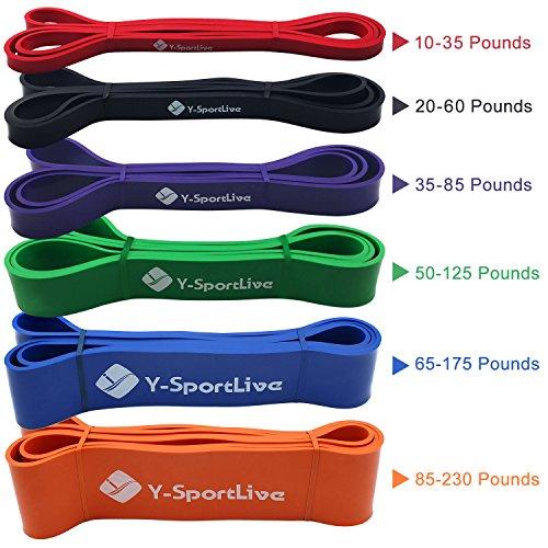 Almondcy - Bandas elásticas premium de látex resistentes para ejercicio, crossfit, entrenamiento, bandas, fortalecimiento, levantamiento de pesas y yoga, Red 10-35 lbs