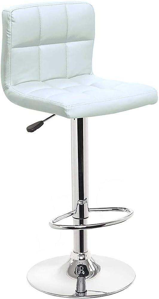 Totò piccinni, sgabello con schienale, girevole 360°, regolabile in altezza, base in acciaio cromata, bianco