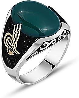 خاتم رجالي فضة بحجر عقيق أخضر اللون فضة عيار 925