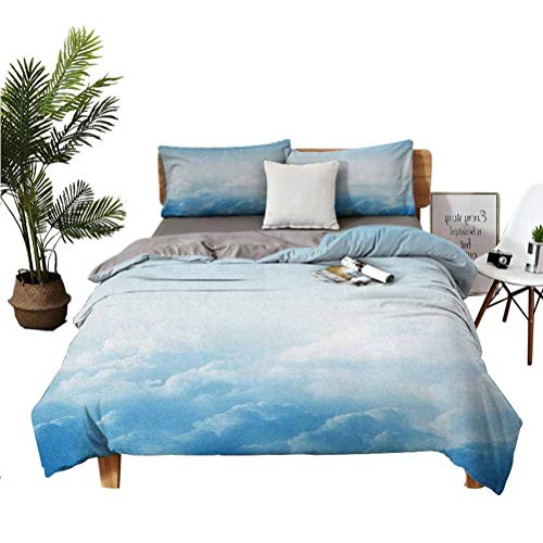 LANQIAO Extra Large Duvet Cover Fluffy Clouds High Above Ground Mass of Condensed Water Vapor Floating Dream Image,Girlfriend Gift 104x89 inch