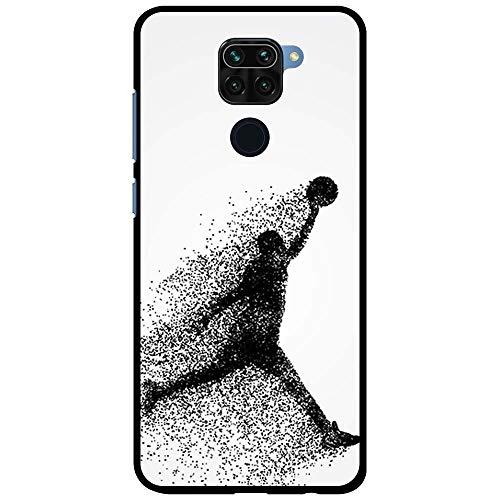 BJJ SHOP Funda Negra para [ Xiaomi Redmi Note 9 ], Carcasa de Silicona Flexible TPU, diseño : Jugador de Baloncesto Abstracto Saltando