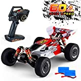 Remote Control Car,60+ KMH 1:14 Scale WLtoys 144001 Fast RC Cars for Adults Kids,4WD Off Road Buggy Racing Car with 2 Batteries Gifts for Boys (Red)