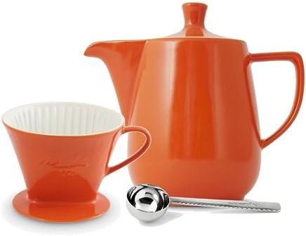 Preisvergleich für Friesland Melitta Kaffeefilter 102 1 Loch Porzellan orange + Kaffeekanne 0,6L + Kaffeemaßlöffel