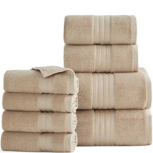 Bedsure Cotton Bath Towel Set - 600 GSM 100% Turkish Cotton Quick Dry Towel Sets Luxury Taupe Soft Absorbent Towels for Bathroom, 2 Bath Sheets, 2 Hand Towels, 4 Washcloths