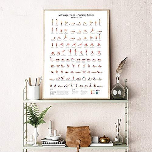 WJWGP Ashtanga Primaria Serie Yoga PóSter Lienzo Arte Impresiones Yoga HabitacióN Pared Arte Decoracion Chicas Fitness Regalo Gimnasio Arte Pintura Decoracion Cuadro 40x60cm No Marco