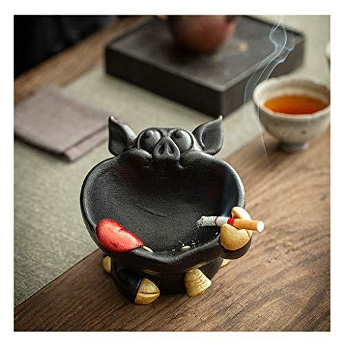 Cerdo de cerámica con boca grande, creativo, para el hogar, sala de estar, oficina, escritorio, cenicero, bandeja para cenizas (color negro), YXF99 (color: negro)