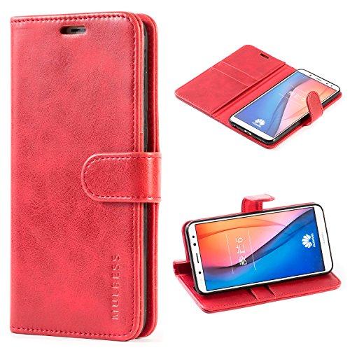 Mulbess Handyhülle für Huawei Mate 10 Lite Hülle Leder, Huawei Mate 10 Lite Handy Hüllen, Vintage Flip Handytasche Schutzhülle für Huawei Mate 10 Lite Hülle, Wein Rot
