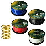 Harmony Audio Primary Single Conductor 12 Gauge Power or Ground Wire - 4 Rolls - 400 Feet - 4 Color Mix for Car Audio/Trailer/Model Train/Remote