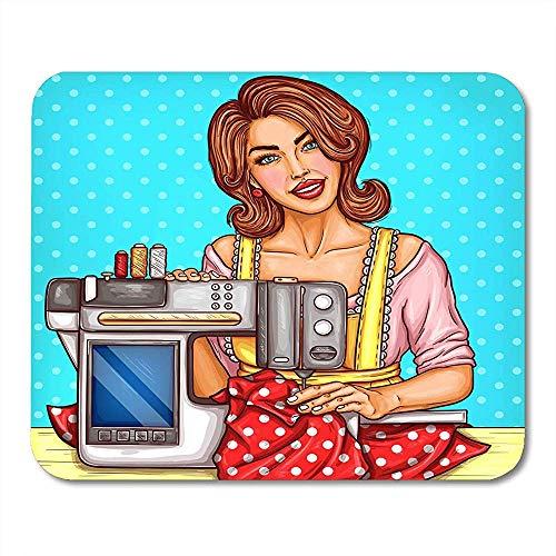 Muiskussentjes glimlachend Pretty Vrouw Naadspanning Naait Op Naaimachine Met Display Naaldwerk Hobfor Huisvrouw Mouse Pad Voor Computers