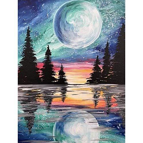 HQKNIGHT Pintura por Números Pintar por Número de Kits para Adultos Niños Principiantes Luna y Bosque DIY Pinceles y Pinturas Decoraciones para el Hogar sin Marco de 40 X 50 cm