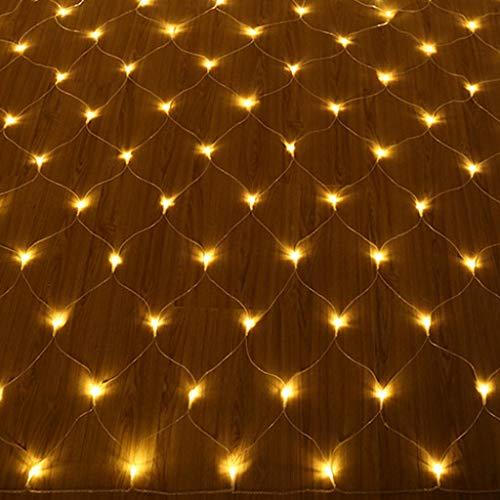 QVIVI LED Lichternetz, Außen Weihnachtsmaschen Lichtervorhang Lichterketten, Wasserdicht Mit 8 Leuchtmodi, Gelb 6M x 4M