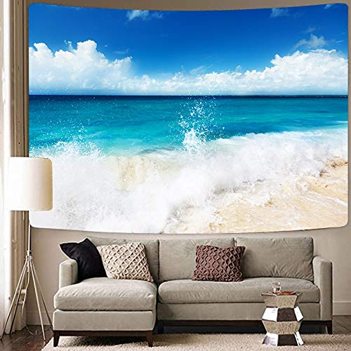 KHKJ The Great Wave Tapisserie Blue Sea Landschaft Wandbehang Wandteppiche Wandtuch Hintergrund Psychedelic Home Decor Decke A10 95x73cm