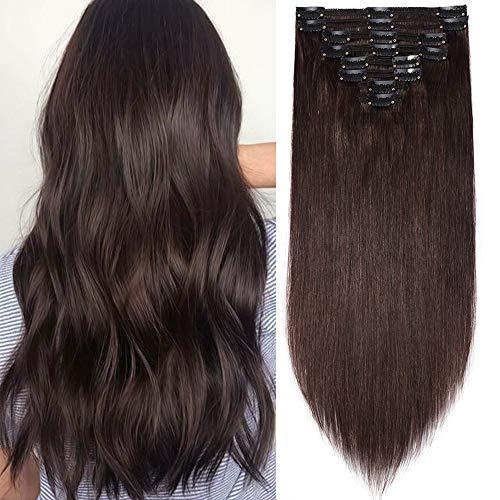 Clip in Extensions Echthaar Haarverlängerung Haarteil Doppelt 8 Teile hitzebeständig glatt Dunkelbraun#2 24