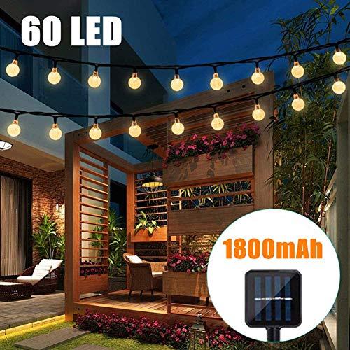 HONGLONG Solar String Lights, 60 LED Outdoor Garden Solar Lights Powered Waterproof Crystal Ball Decorative Fairy Lights for Garden Patio Yard Home Wedding Parties, 36ft