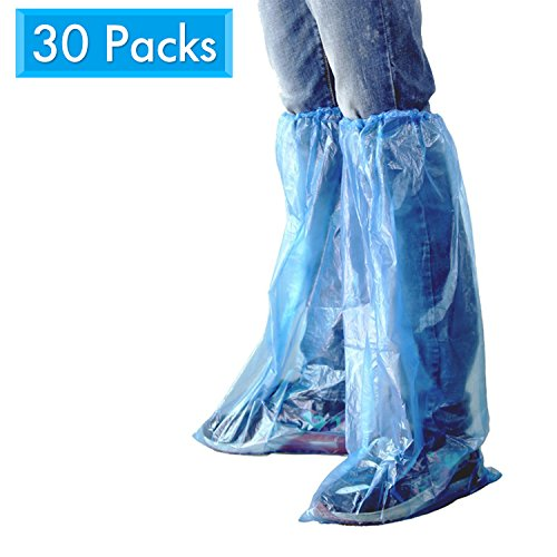 HUABEI 30 Pack Disposable Shoe Covers Blue Rain Shoes and Boots Cover Plastic Long Shoe Cover Clear Waterproof Anti-Slip Overshoe for Women Men Water Boots Cover Rainy Day Use Cover