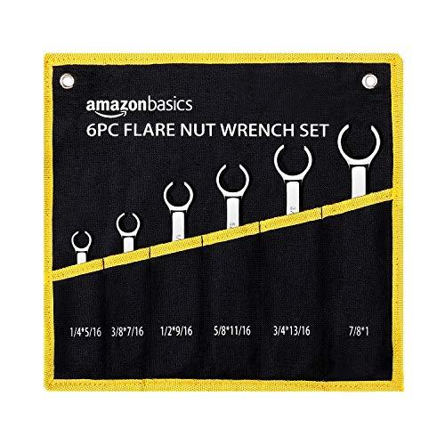 AmazonBasics Flare Nut Wrench Set - SAE, 6-Piece