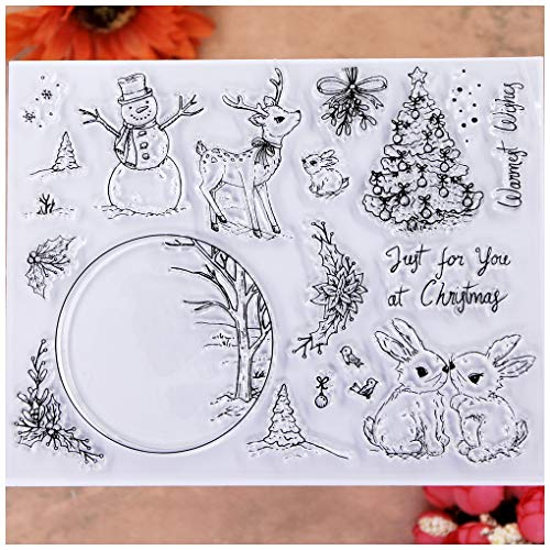 KWELLAM Merry Christmas Tree Ball Snowman Deer Rabbit Clear Stamps for Card Making Decoration and DIY Scrapbooking
