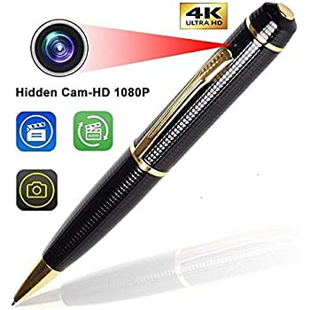 Inovics Spy Camera 4K 1080P HD Pen Camera Audio and Video Recording Hidden Cam in Pen Camcorder No Light Flashes While Recording - Gold and Black