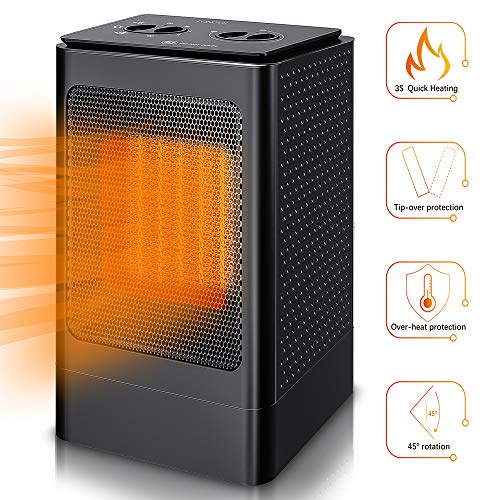 Space Heater Electric Portable Heaters - 1500W Ceramic Space Heater for Office Indoor Use Home Bedroom Desk Garage with 6 Modes, PTC Small Oscillating Space Heaters with Thermostat, Over Heat Auto Off