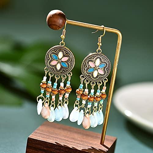 feilai Pendientes bohemios de múltiples capas de cuentas de cristal con borla para mujer, estilo étnico, colorido pequeño y fresco (Color de metal: DE804)