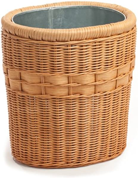 The Basket Lady Oval Wicker Waste Basket 11 5 In W X 9 5 InD X 12 In H Toasted Oat