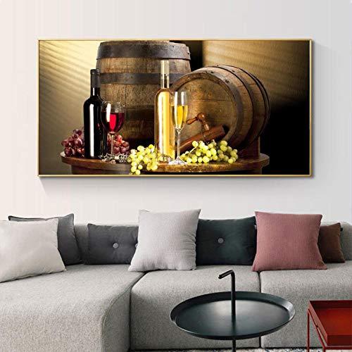 QZROOM Grape Wine Canvas Painting Art Poster e Stampe Wall Art Still Life Immagine per Soggiorno...
