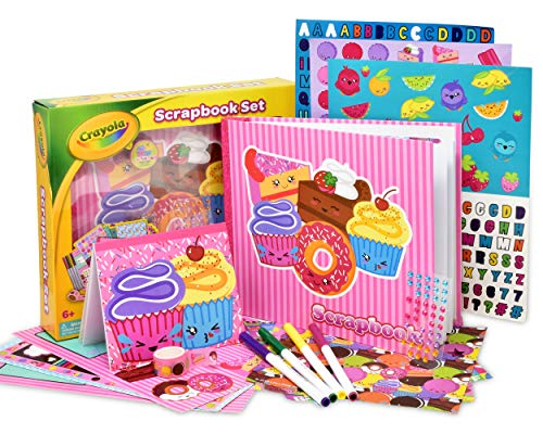 Crayola Scrapbook Activity Craft Kit, Mess Free Journal Set for Kids, Drawing Art Supplies Included Scrapbook, Pattern Sheets, Cut Outs, Gem Stickers, Sequins, Crayola Washable Markers and Tape