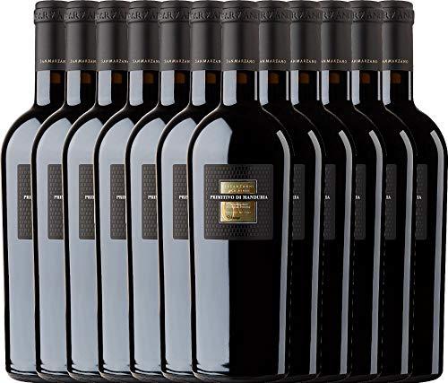 VINELLO 12er Weinpaket Italien - Sessantanni Primitivo di Manduria 2016 - Cantine San Marzano mit Weinausgießer   halbtrockener Rotwein   italienischer Rotwein aus Apulien   12 x 0,75 Liter